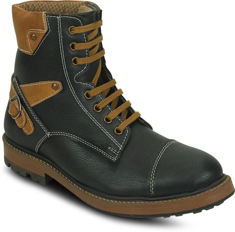Get Glamr Trecking Lace Ups Boots For Men(Black)