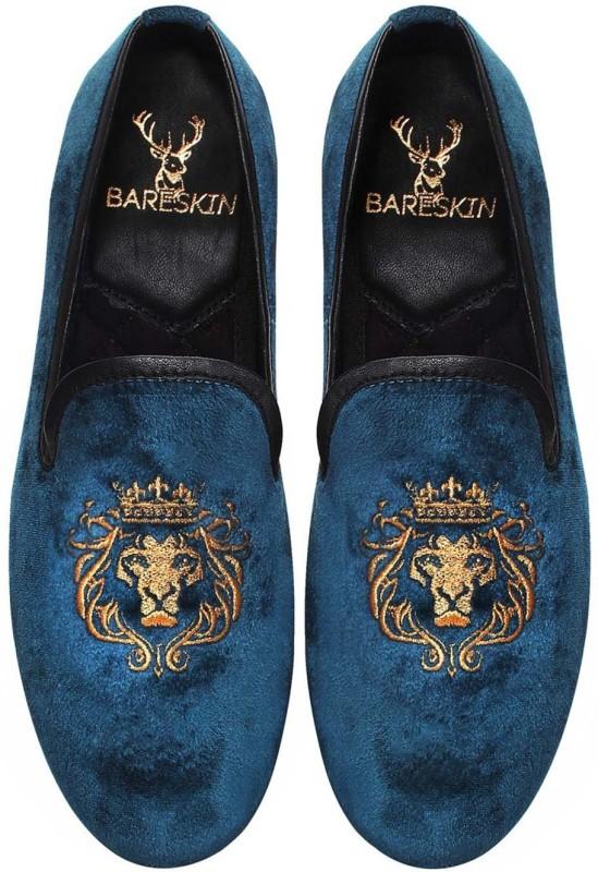 Bare Skin Velvet Slip-On Loafers For Men(Blue)