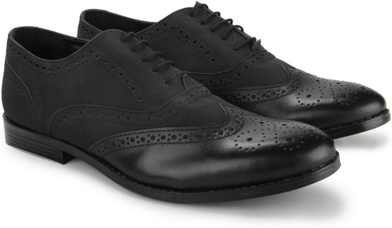 Knotty Derby Oliver Brogue Oxford Lace Up For Men(Black)