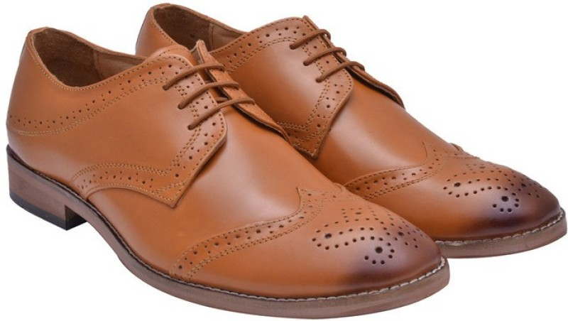 Hirels Geniune Leather Cap Toe Derby Brogue Brogues For Men(Tan)