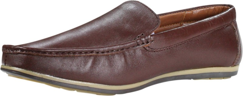 Feather Leather Genuine Leather Brown Formal Shoes 047 Loafers For Men(Brown)