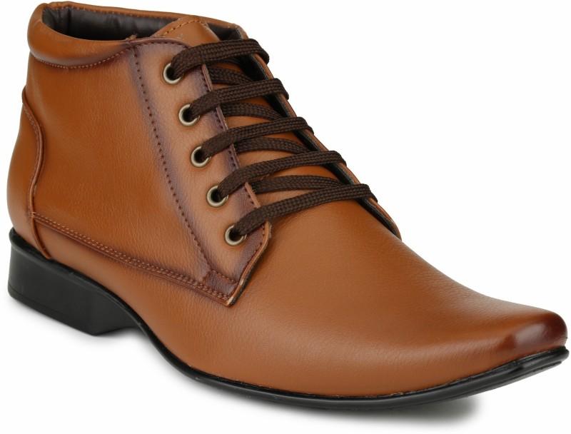 Mactree Cuban Lace Up Shoes For Men(Tan)