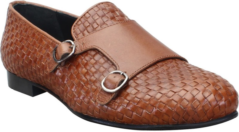 Bare Skin Tan Hand Woven Genuine Leather Double Monk Strap Slip On Shoe For men Loafers(Tan)