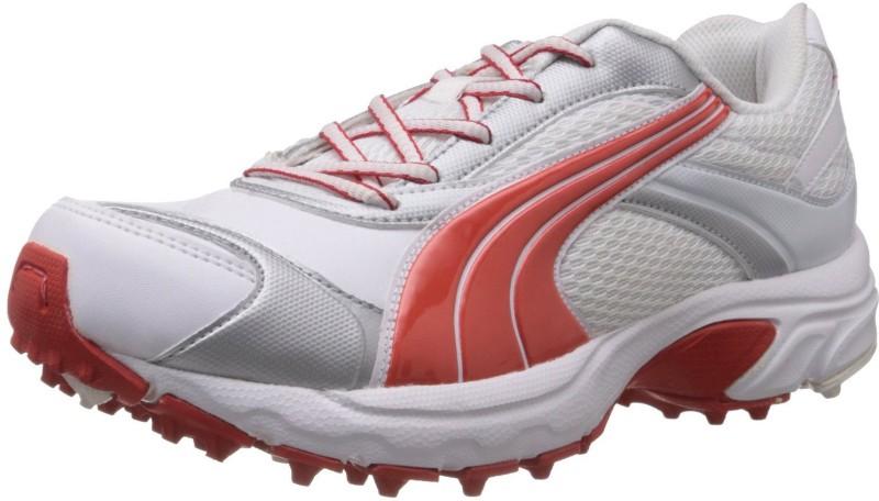 Puma Lithium Rubber DP Cricket Shoes(White, Orange)