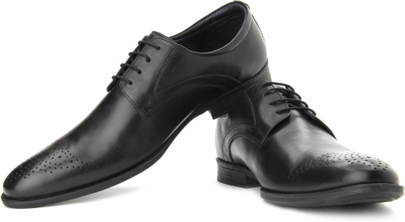 Hush Puppies By Bata London DerBy Lace Up Shoes For Men(Black)