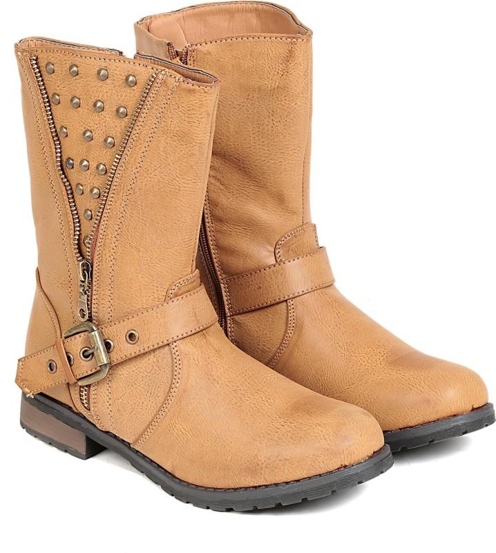 TEN TEN Womens Beige Mid Length Boots Boots(Beige)