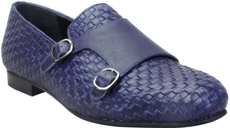Bare Skin Blue Genuine Leather Hand Woven Double Monk Strap Slip On Shoe For Men Loafers For Men(Blue)