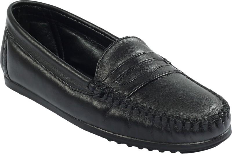 Shoe Bazar Flat Leather Women's Loafers For Women(41, Black) image