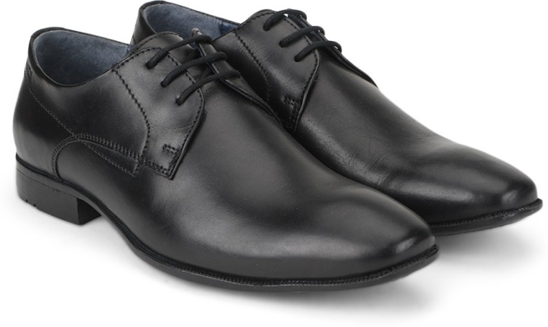 Woods Genuine Leather Lace Up Shoes(Black)
