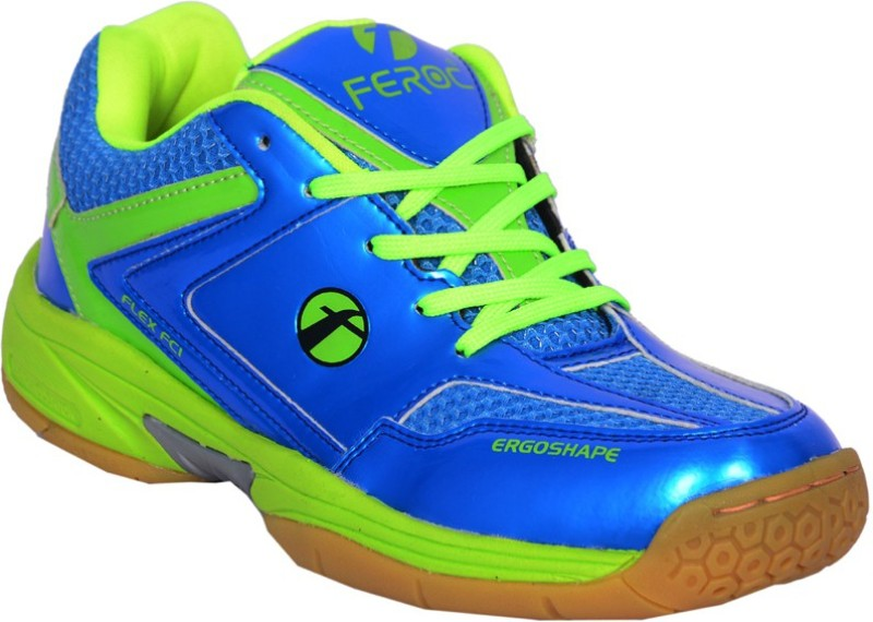Feroc Blue Green Unisex Badminton Shoes For Men(Green)