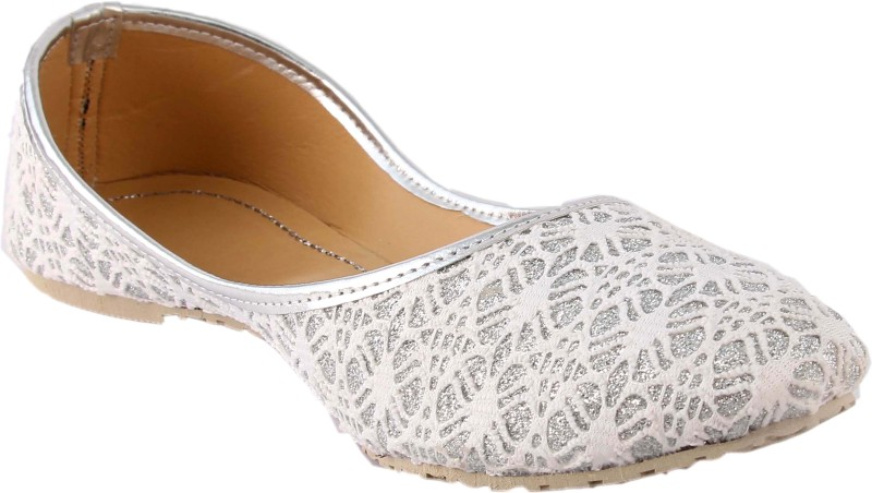 A S COLLECTIONS Bellies For Women(White, Silver)