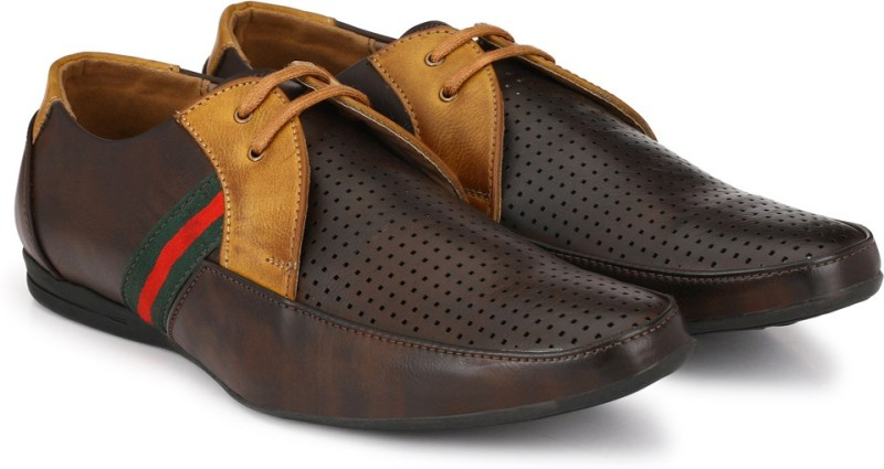 Prolific Perforated Boat Shoes For Men(Brown, Red)