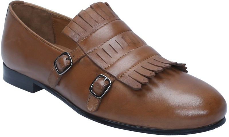 Bare Skin TAN LEATHER DOUBLE MONK SLIP-ON SHOES WITH FRINGES DESIGN Loafers For Men(Tan)