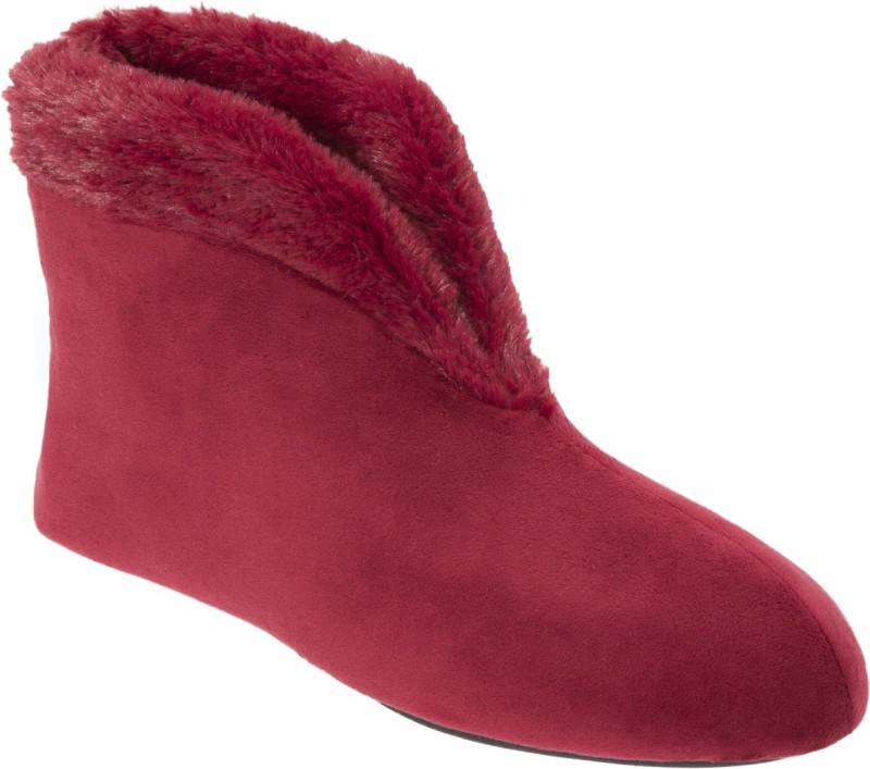 Dearfoams Stylish Ankle-Length Velvet Boots Red Boots For Women(Red)