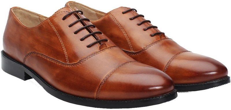 Brune BRUNE MEN TAN LEATHER FORMAL SHOES Lace Up For Men(Tan)