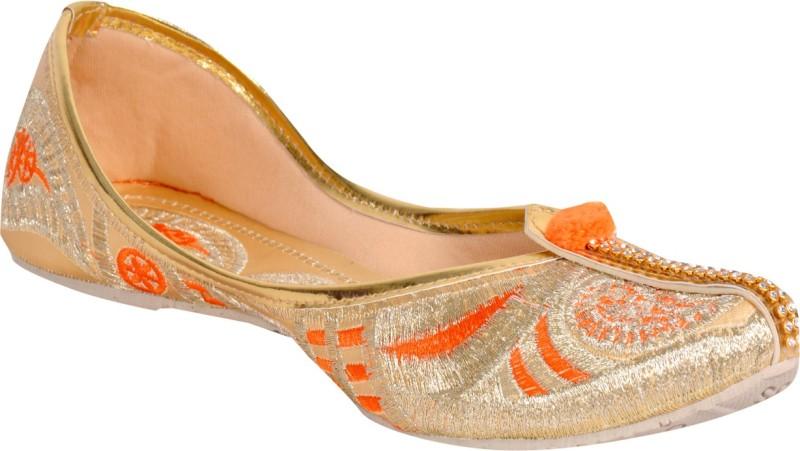 Panahi Synthetic Women's Casual cum Party wear Belly Shoes Ethnic Footwear Mojari Jutti Mojaris For Women(8, Orange) image