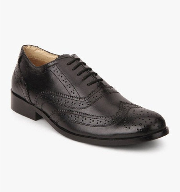Hirels Leather Brogue Lace Up For Men(Black)