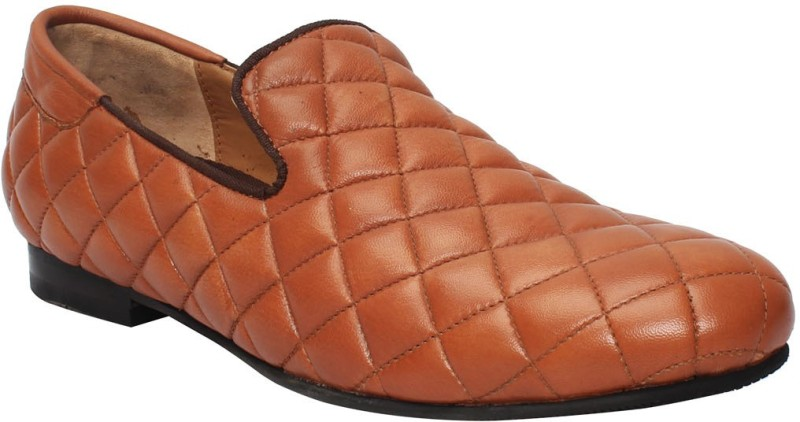 Bare Skin Tan Genuine Leather Diamond Style Slip On Shoe For men Loafers(Tan)