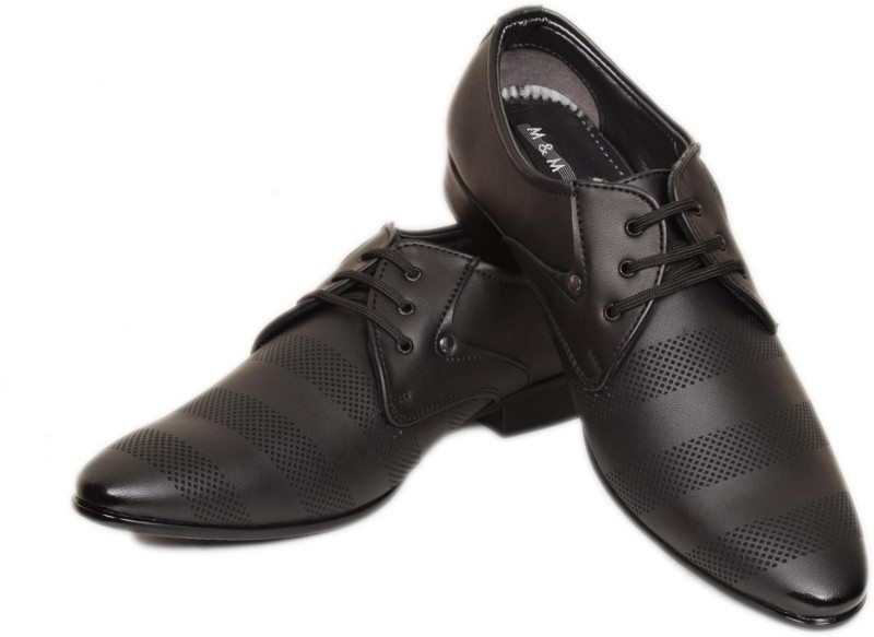 M & M Black Formal Shoes Lace Up For Men(Black)