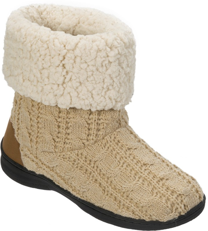 Dearfoams Dearfoams Cuffed Knit Boot Slipper with Heel Patch Beige Boots(Beige)