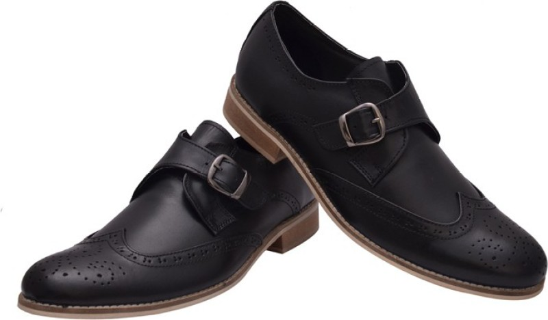 Hirels Geniune Leather Brogue Monk Monk Strap Shoes For Men(Black)