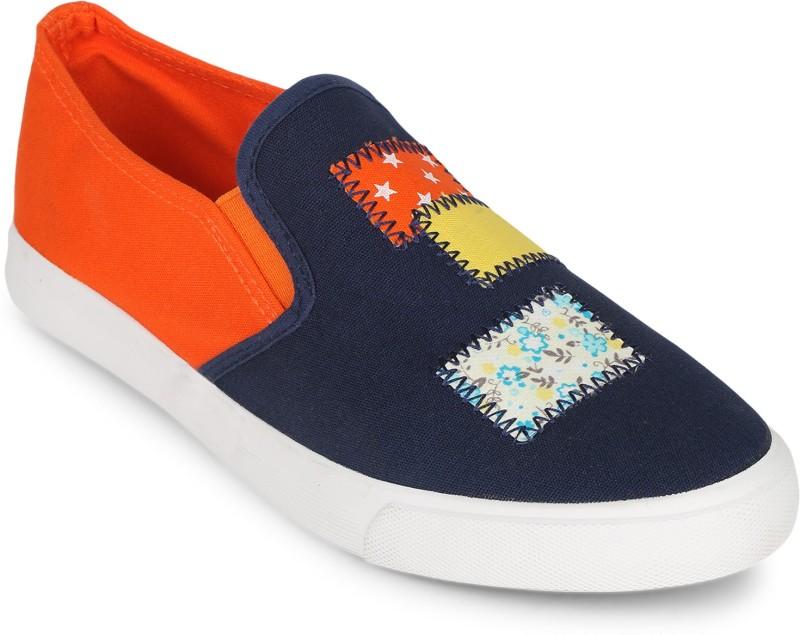 Scantia 161-R116-BLU-ORG Loafers For Women(Blue, Orange)