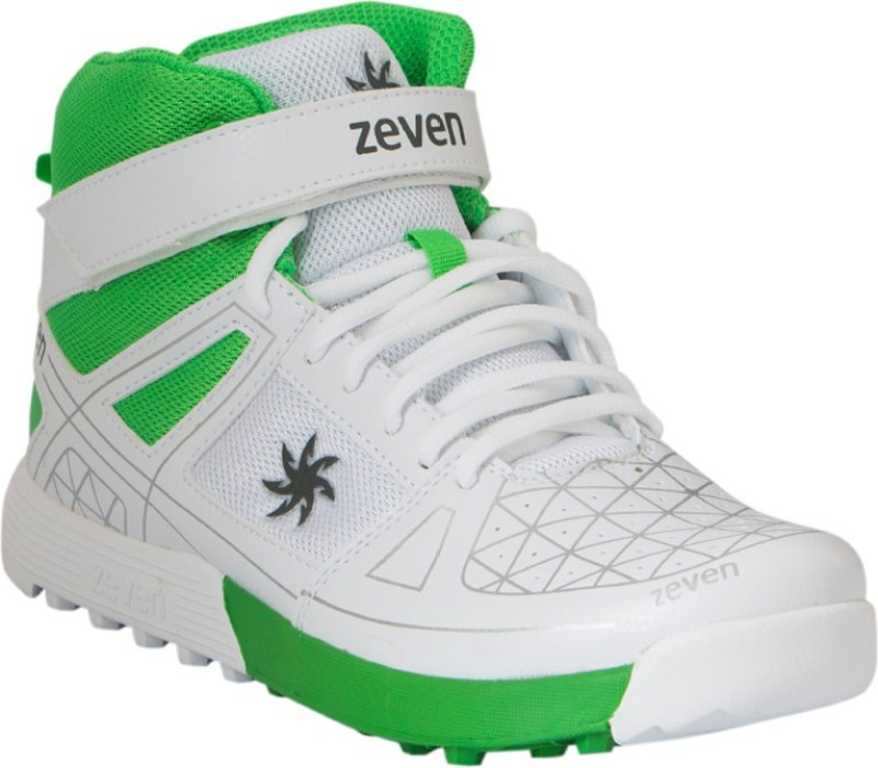 Zeven Blaze Cricket Shoes For Men(White, Green)