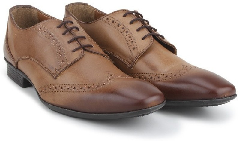 Knotty Derby Wing Cap Brogue Derby For Men(Tan)