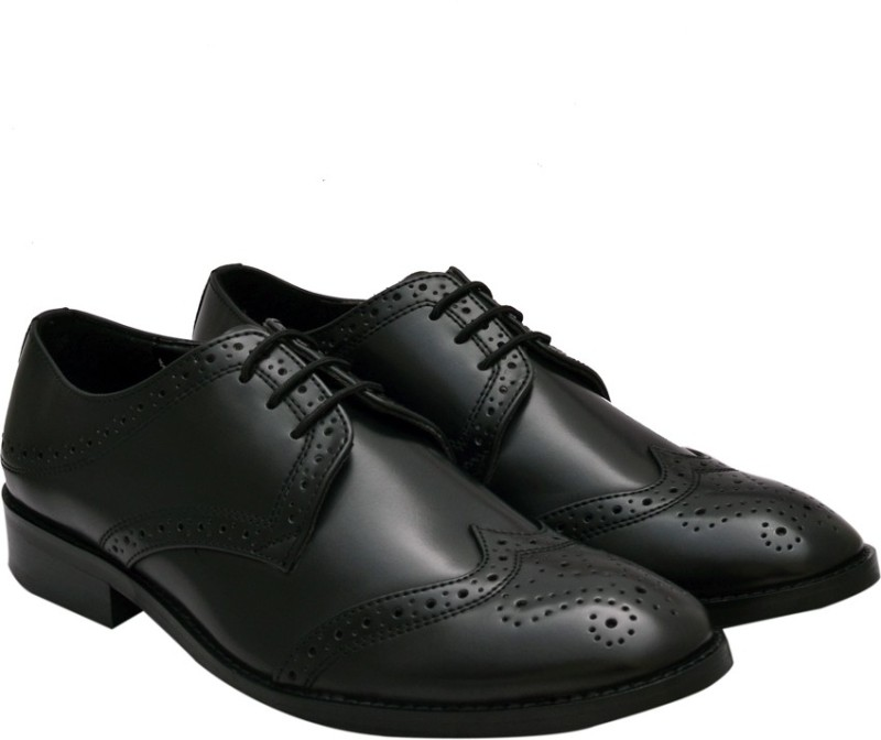 Hirels Black Cap Toe Derby Brogue Lace Up Lace Up For Men(Black)