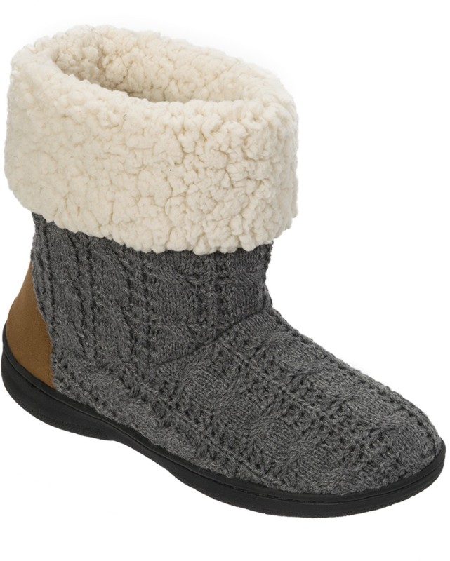 Dearfoams Dearfoams Cuffed Knit Boot Slipper with Heel Patch Grey Boots(Grey)