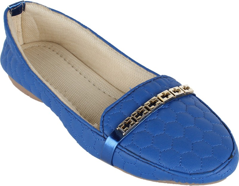 Authentic Vogue Blue With Buckle Loafers For Women(Blue)