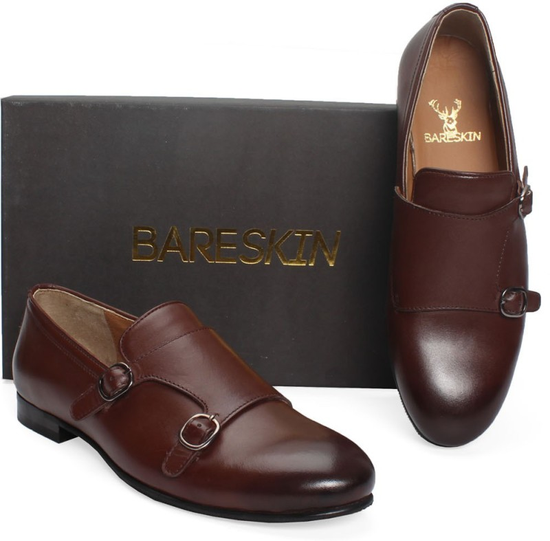 Bare Skin Brown Double Monk Strap Hand Made Leather Slip-On Shoe Loafers For Men(Brown)