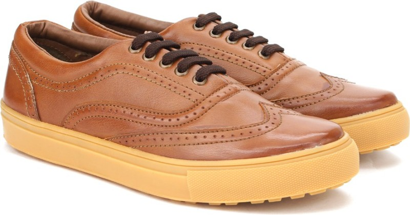 Knotty Derby Alecto Wing Cap Brogue Sneakers For Men(Tan)