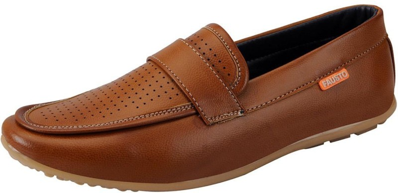 FAUSTO Tan Mens Casual Loafers, Driving Shoes, Mocassin(Tan)