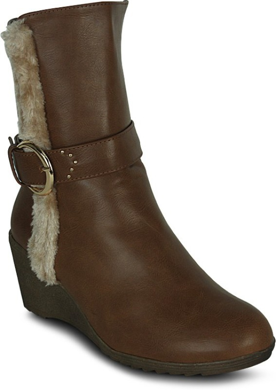 Get Glamr Designer Furry Strip Boots For Women(Tan)