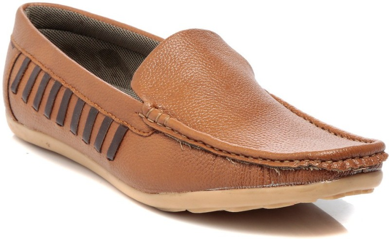 TEN Tan Leather Loafers Loafers For Men(Tan)