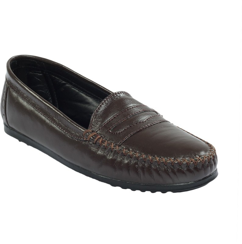Shoe Bazar Flat Leather Women's Loafers For Women(39, Brown) image