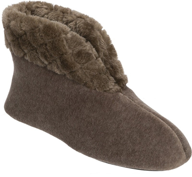 Dearfoams Dearfoams Velour Bootie Slipper with Quilted Pile Cuff Brown Boots(Brown)