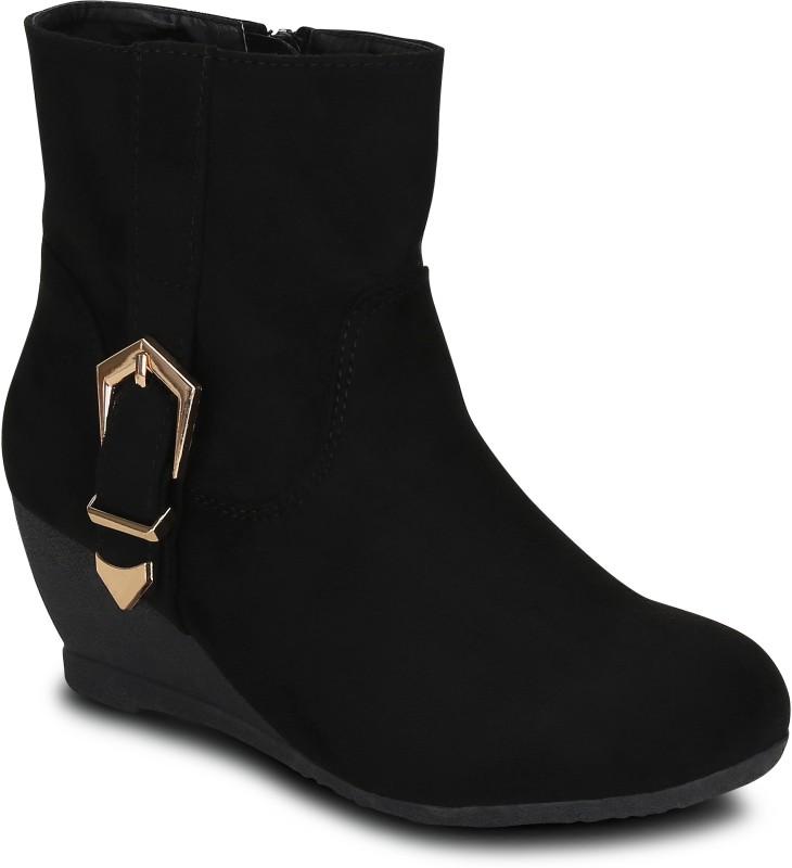 Kielz Ladies Black Suede Boots Boots For Women(Black)