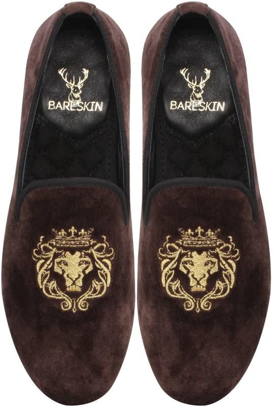 Bare Skin New Brown Velvet Slip On shoe By Bareskin Loafers For Men(Brown)