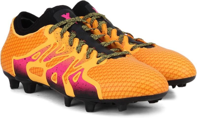 ADIDAS X 15+ PRIMEKNIT FG/AG Football Shoes For Men(Black, Orange)