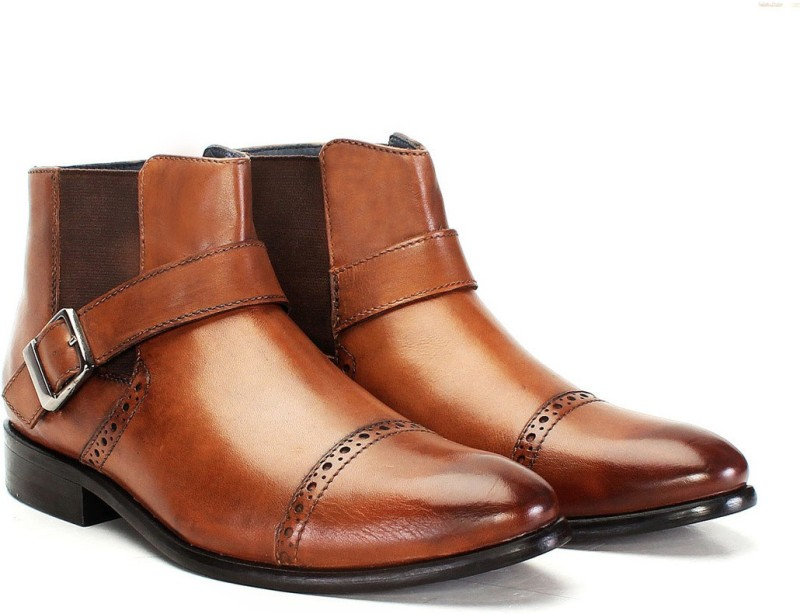 Brune TAN LEATHER BRYCE BOOT Monk Strap For Men(Tan)