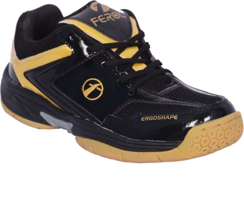 Feroc Black Golden Unisex Badminton Shoes For Men(Black)