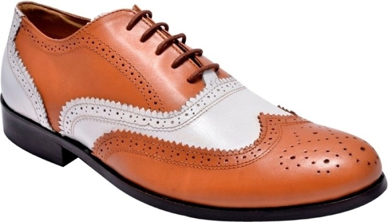 Hirels Mens Dual Color Leather Brogues Lace Up Shoes For Men(Tan, White)