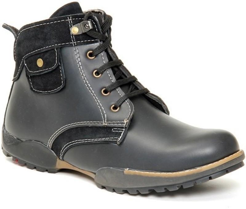Bacca Bucci Black Boots For Men(Black)