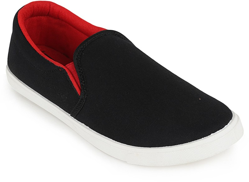 Scantia 044(G-12)BLK-RED Loafers For Women(Black, Red)