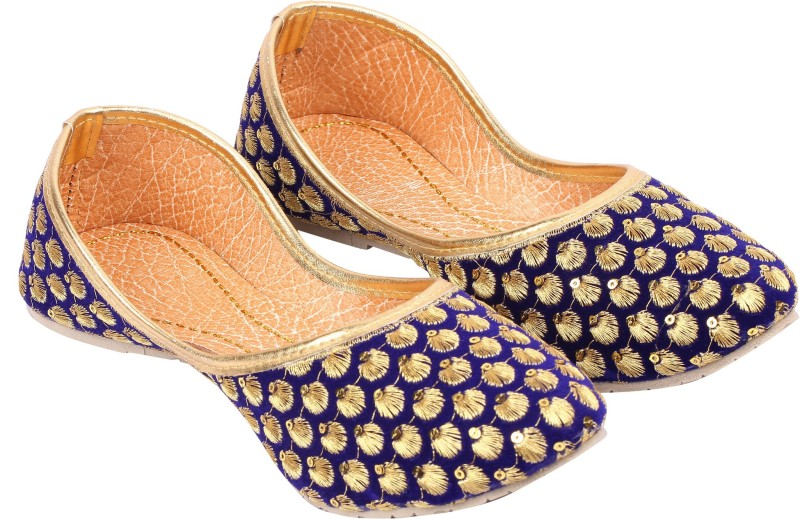 A S Collections Zari Work With Tara Moti Jutis For Women(Blue, Gold)
