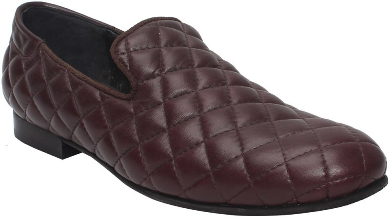 Bare Skin Wine/Burgundy leather Diamond Stitched Leather Slip On Shoe Loafers For Men(Brown)