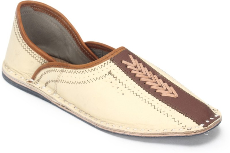 Paduki Men's Ethnic Footwear Mojaris For Men(10, Khaki) image
