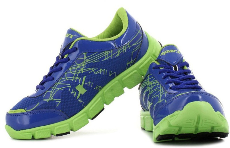 Sparx Trendy Royal Blue and Florocent Green Runnin